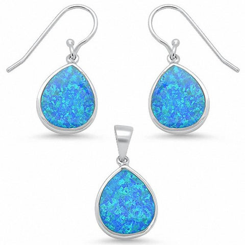 Jewelry Set Created Opal Teardrop Pear Shape 925 Sterling Silver Choose Color
