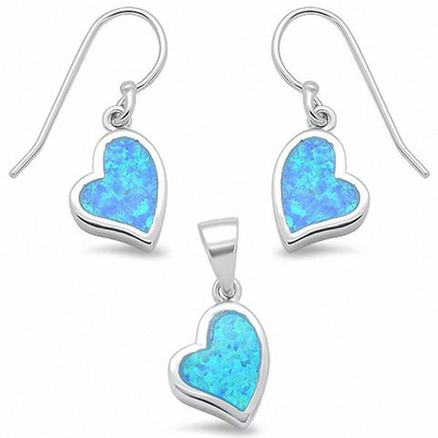 Heart Jewelry Set Pendant Earring Created Opal Fishhook 925 Sterling Silver Choose Color