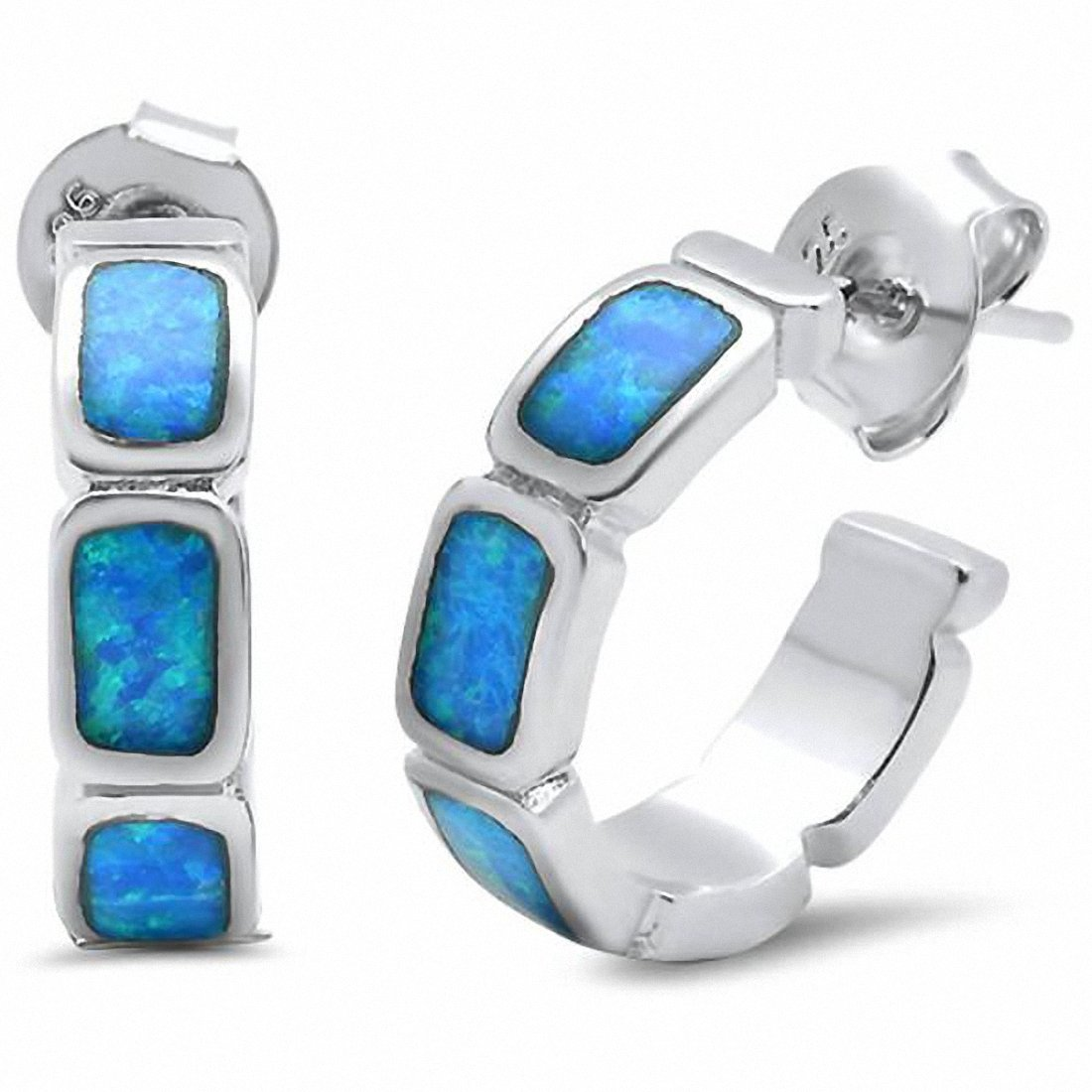 Huggie Hoop Earrings 925 Sterling Silver Created Opal