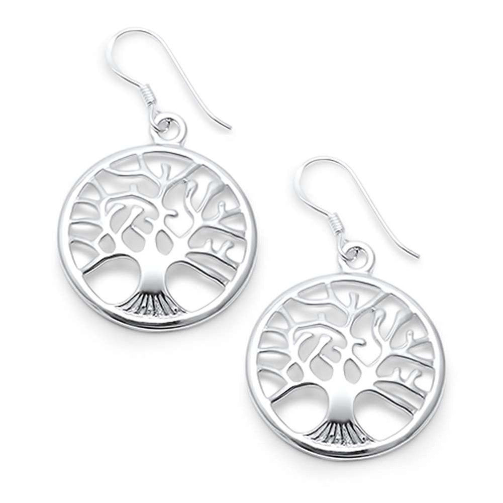 Tree of Life Earrings Round fish hook Dangling Tree of Life Drop Dangle 925 Sterling Silver - Blue Apple Jewelry