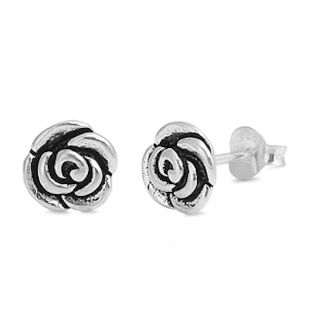 7mm Plain Rose Earrings 925 Sterling Silver Rose Stud Earring Rose Flower - Blue Apple Jewelry