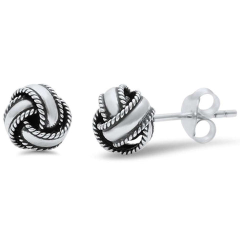 6mm, 8mm Bali Design Knot Ball Stud Earring 925 Sterling Silver Braided Twisted Knot Earring Choose Size - Blue Apple Jewelry
