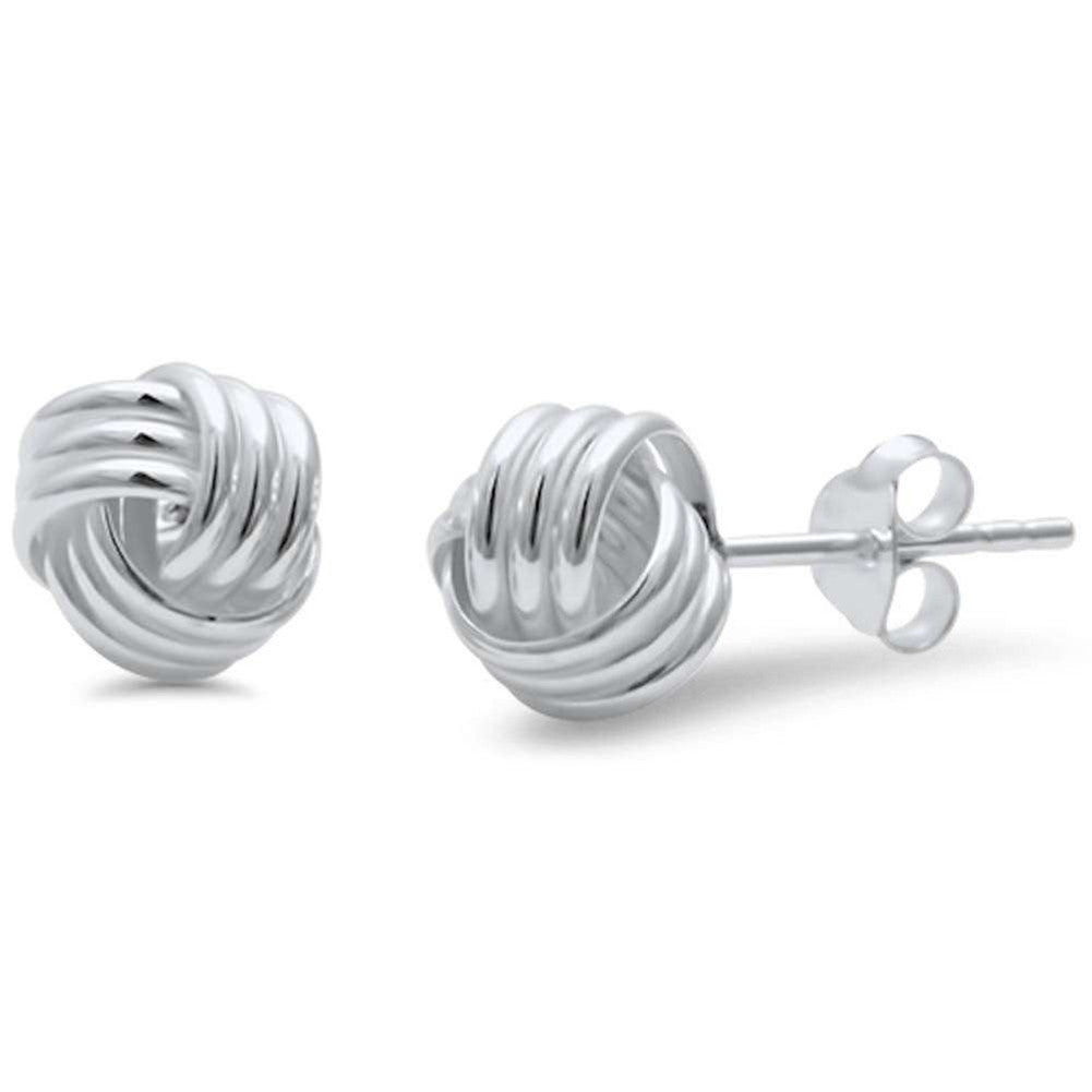 6mm, 8mm Knot Ball Stud Earring 925 Sterling Silver Braided Twisted Knot Earring Choose Size - Blue Apple Jewelry
