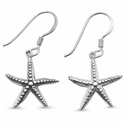 Plain Fishhook Starfish Earrings Dangling 925 Sterling Silver Choose Color