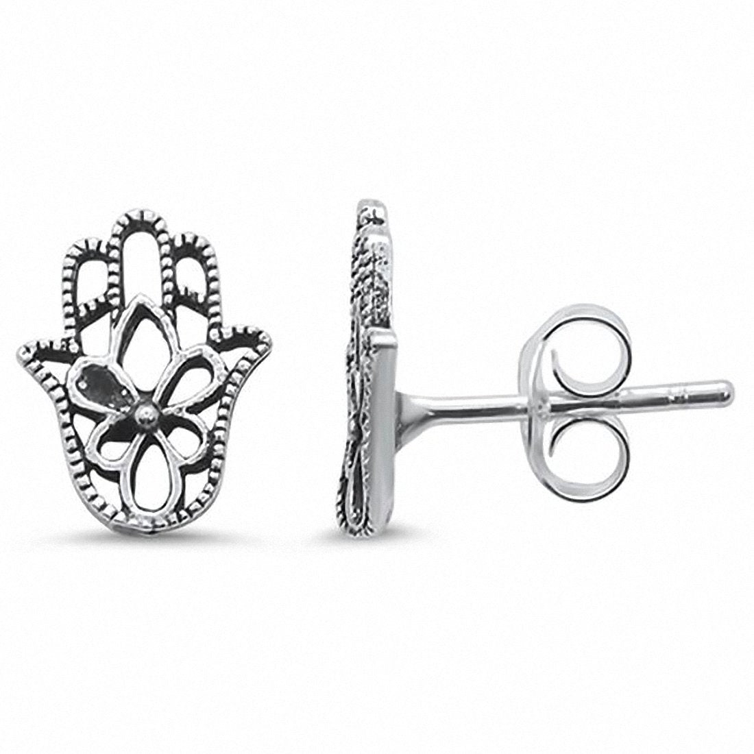 Hamsa Hand of God Stud Earrings 925 Sterling Silver Choose Color