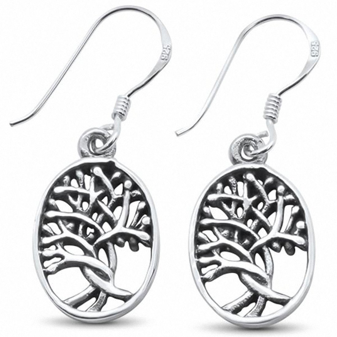 Fishhook Dangling Oval Tree of Life Earrings 925 Sterling Silver Choose Color
