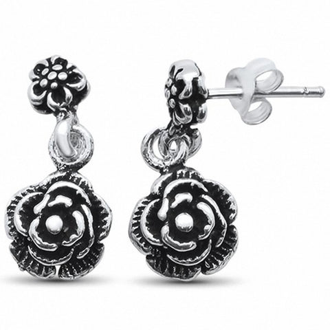 Dangling Rose Stud Earrings Solid 925 Sterling Silver Choose Color
