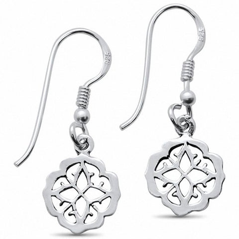 Dangling Fishhok Flower Earrings Solid 925 Sterling Silver Choose Color