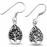 Pear Tree of Life Fishook Dangling Earring 925 Sterling Silver Choose Color