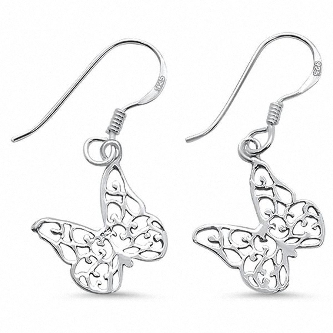 Fishhook Dangle Butterfly Earring 925 Sterling Silver Choose Color