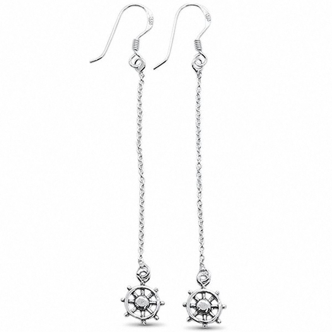 Wheel Drop Dangle Earring 925 Sterling Silver