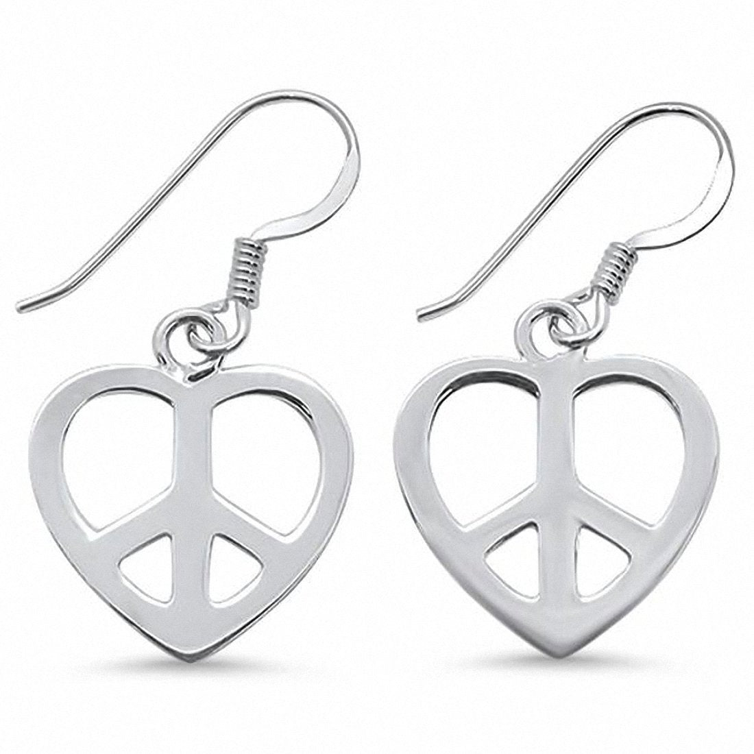 Heart Peace Drop Earrings Fishhook 925 Sterling Silver Choose Color