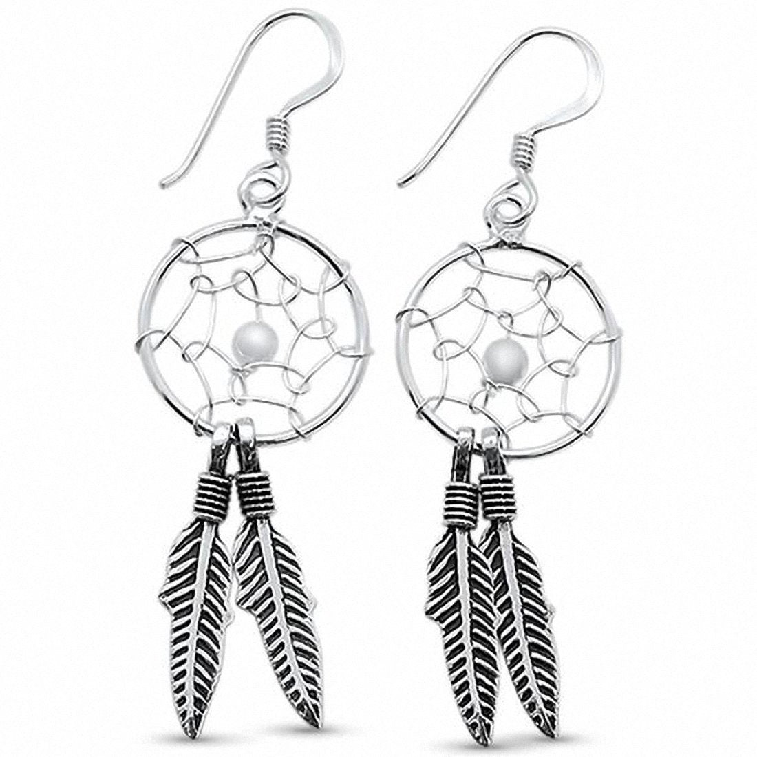 Feather Dreamcatcher Earrings 925 Sterling Silver Choose Color