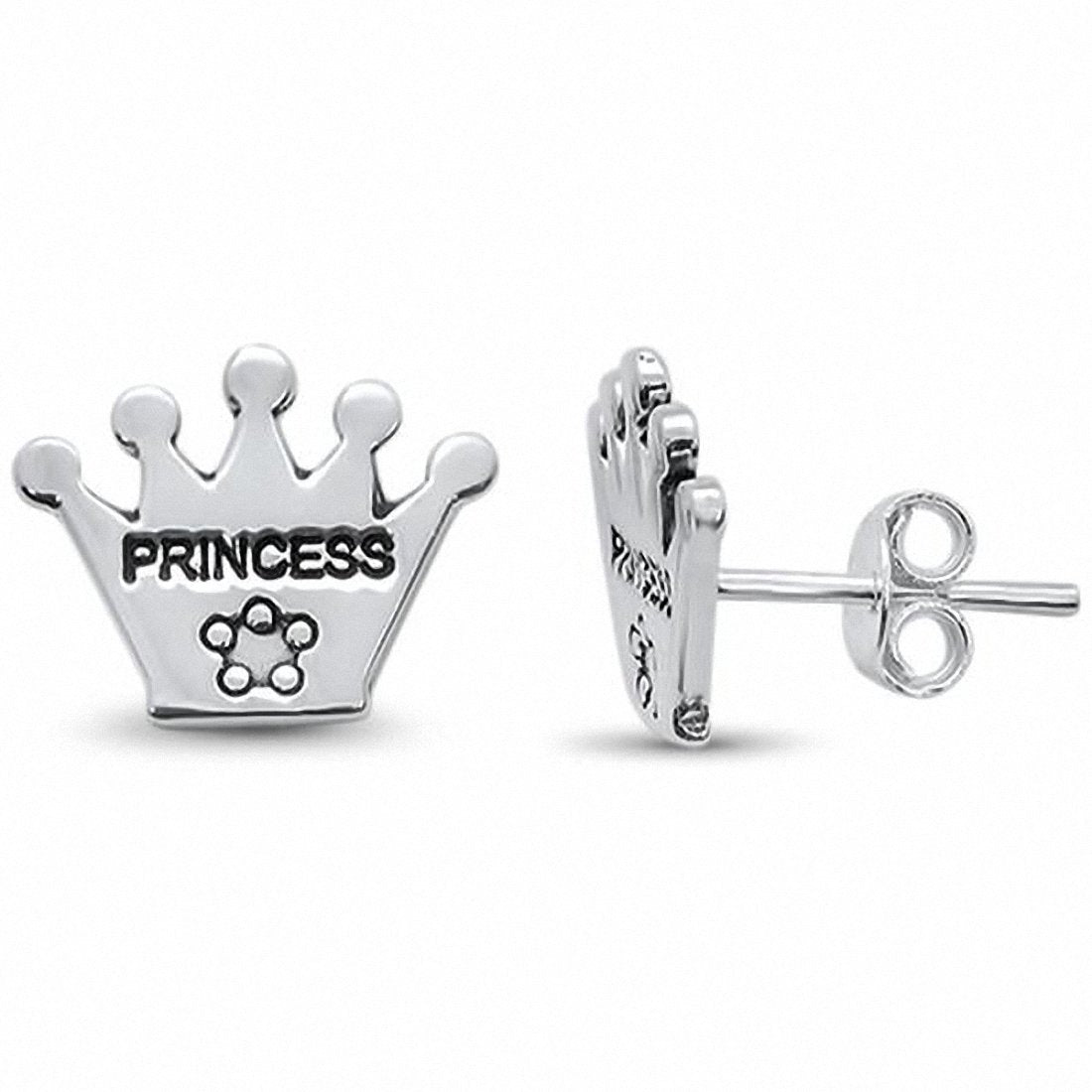 Princess Crown Stud Earrings 925 Sterling Silver Choose Color