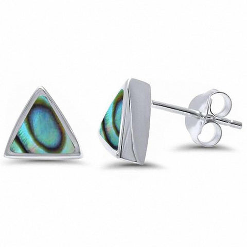 Solitaire Triangle Stud Earrings 925 Sterling Silver Choose Color