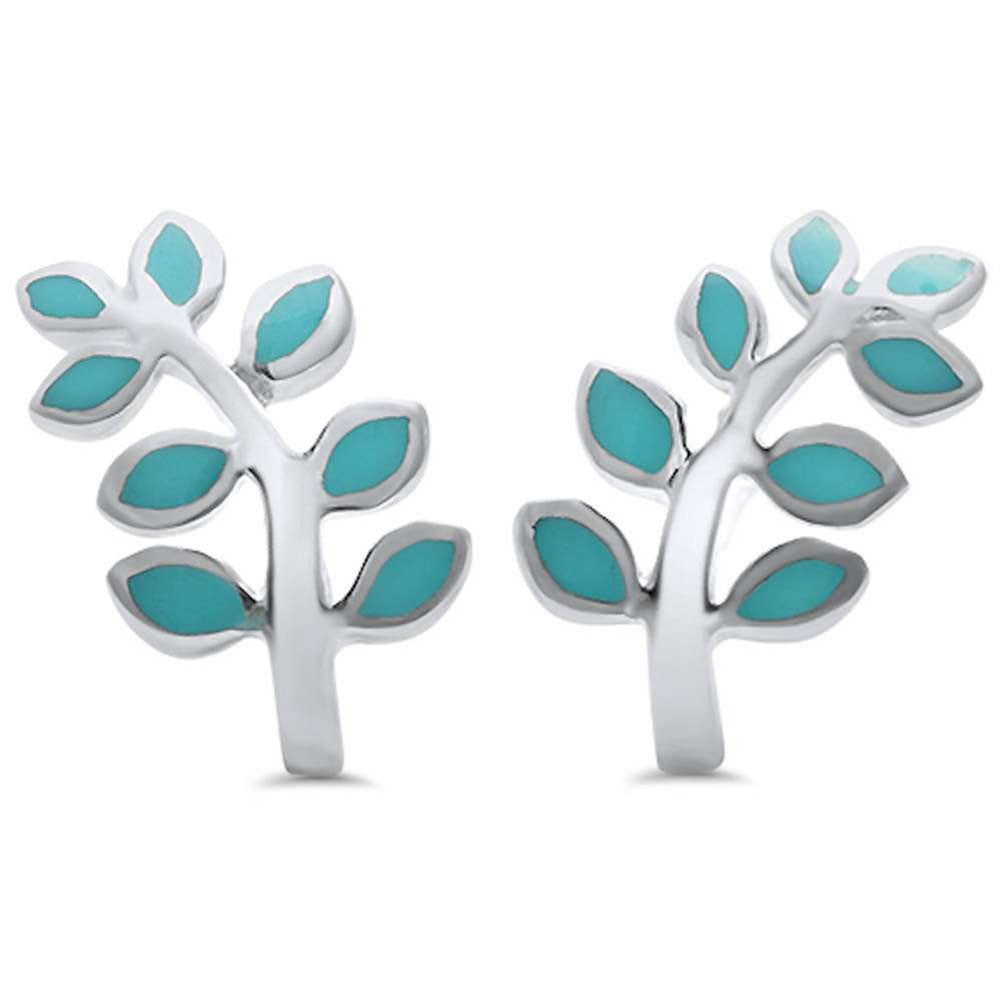 Leaf Earrings Simulated Rainbow Abalone 925 Sterling Silver Leaf Plant Stud Earring Choose Color