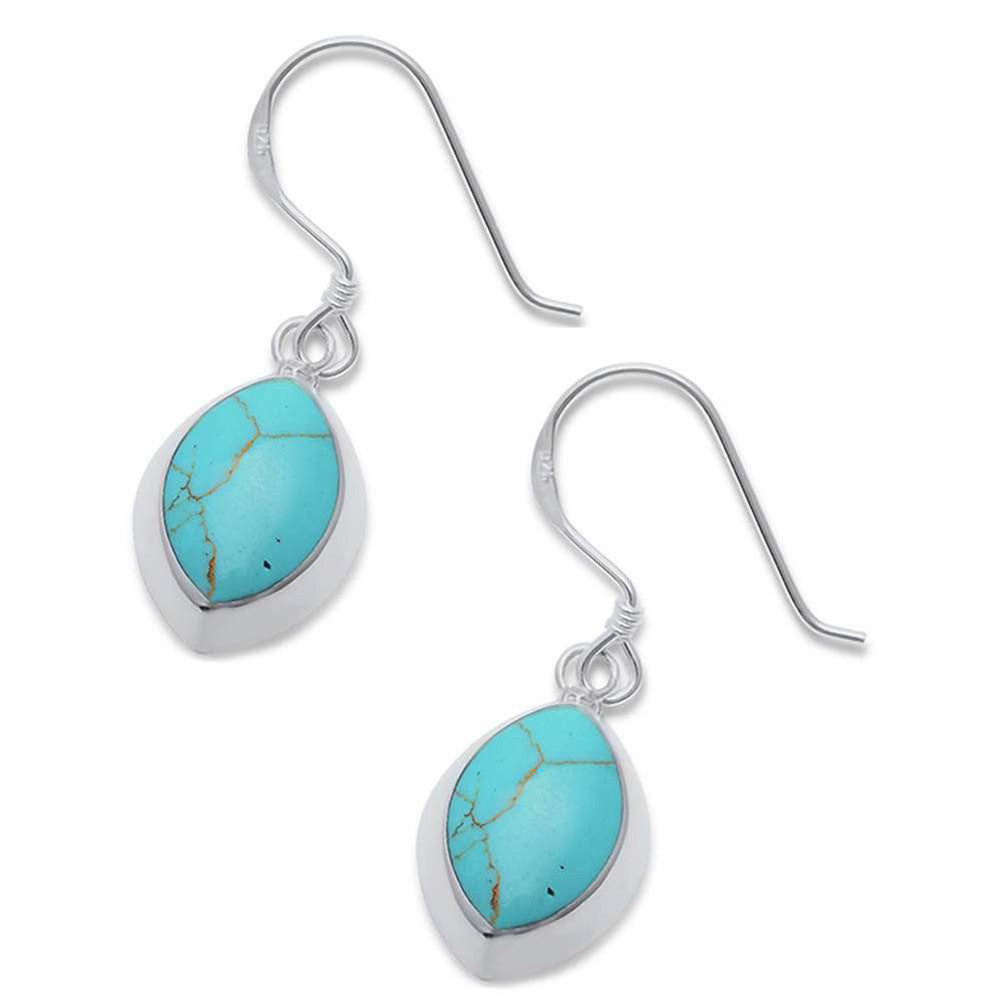 33mm Marquise Design Earrings fish hook Simulated Turquoise 925 Sterling Silver Drop Dangle Style Earring - Blue Apple Jewelry