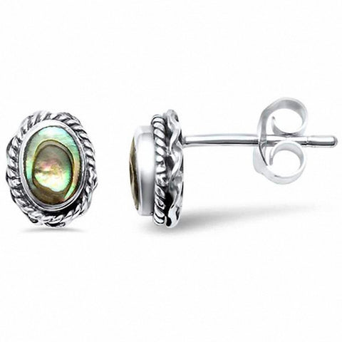Oval Filigree Solitaire Stud Earrings Simulated Stone 925 Sterling Silver Choose Color