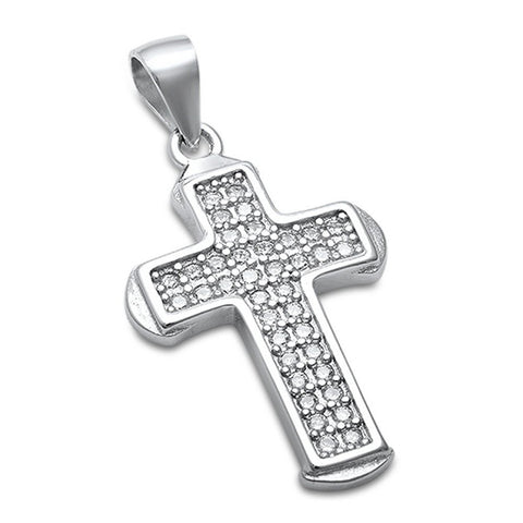 Cross Pendant Round Pave CZ 925 Sterling Silver Cross Choose Color - Blue Apple Jewelry