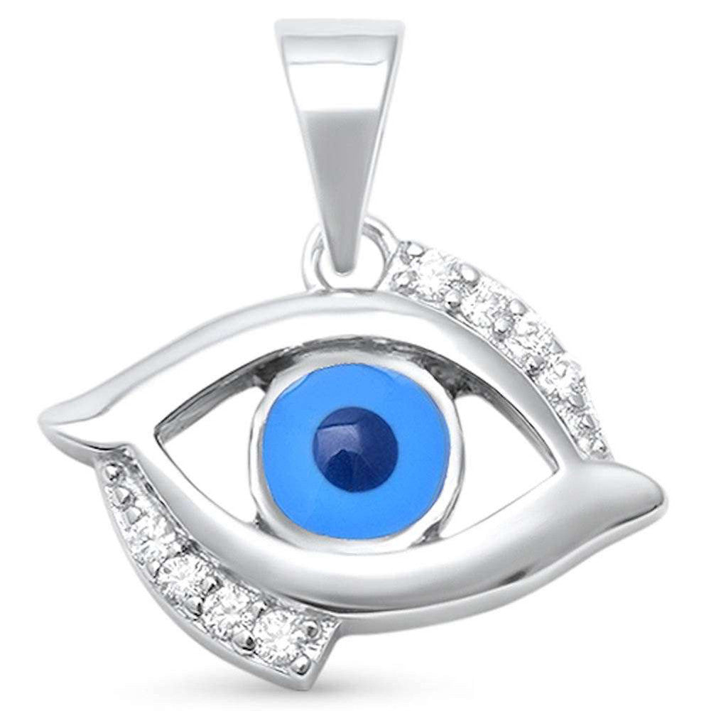 Blue Evil Eye Pendant Charm 925 Sterling Silver Evil Eye Choose Color - Blue Apple Jewelry