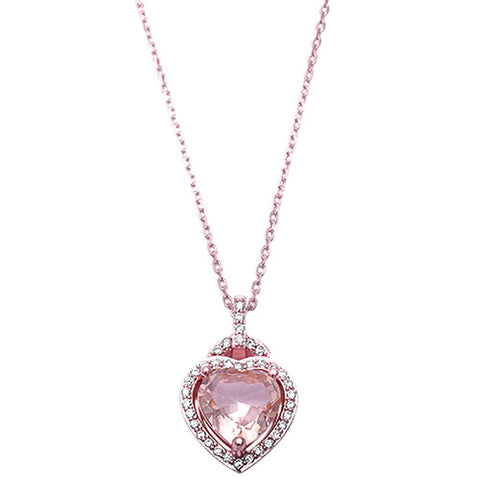 Halo Heart Pendant Necklace Simulated Morganite CZ Round Rose Gold Rhodium Plated 925 Sterling Silver
