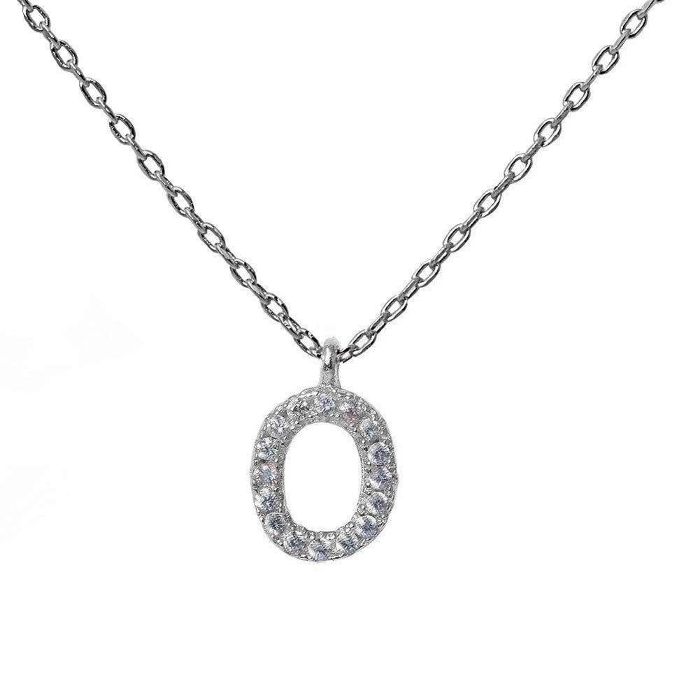 "Oval Pendant 18"" Necklace Round Pave Cubic Zirconia 925 Sterling Silver Choose Color - Blue Apple Jewelry"