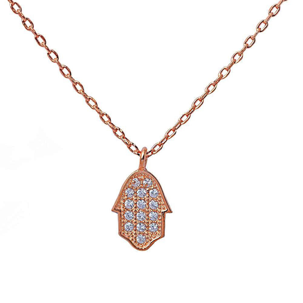 "Hamsa Hamesh Hand of God 18"" Necklace Pendant Round Pave Cubic Zirconia 925 Sterling Silver Choose Color - Blue Apple Jewelry"