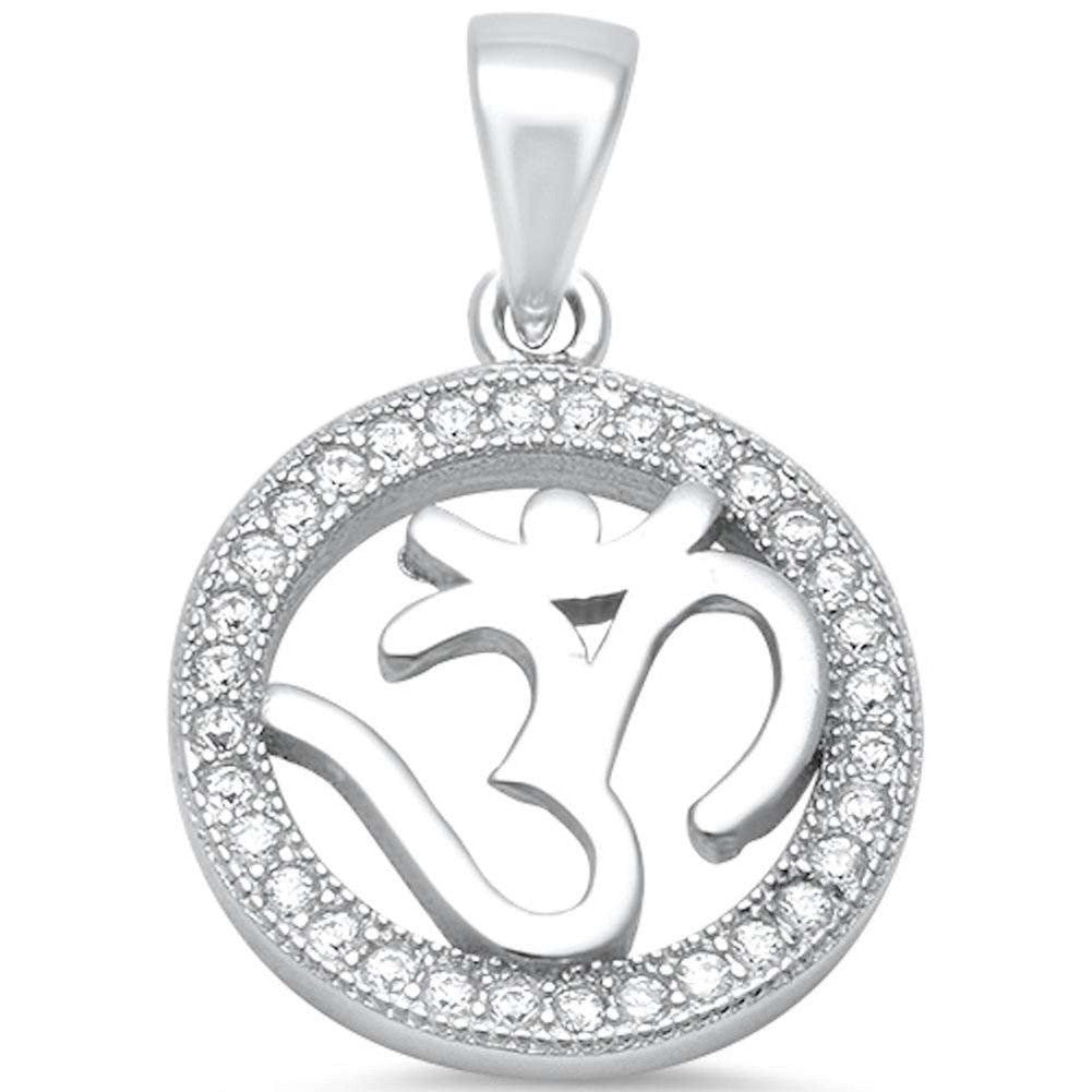 OM Pendant Charm Round Pave Cubic Zirconia 925 Sterling Silver OHM Choose Color - Blue Apple Jewelry