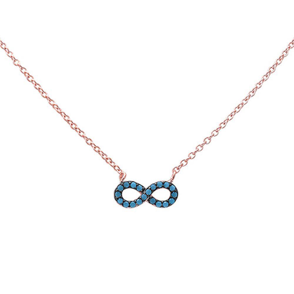"Dainty Infinity Pendant 18"" Necklace Round Simulated Nano Turquoise 925 Sterling Silver Choose Color - Blue Apple Jewelry"