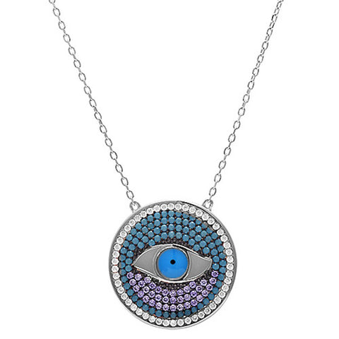 Turkish Evil Eye Pendant Necklace Round CZ 925 Sterling Silver Choose Color