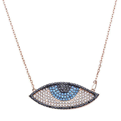 "Evil Eye Pendant 18"" Necklace Round Simulated Nano Turquoise Black & White CZ Rose Gold Plated 925 Sterling Silver"
