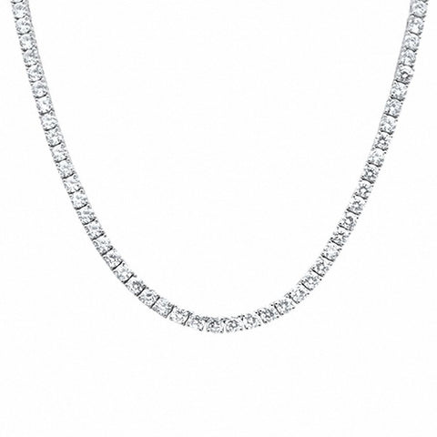 6mm Round Simulated Cubic Zirconia Tennis Necklace Solid 925 Sterling Silver Choose Color