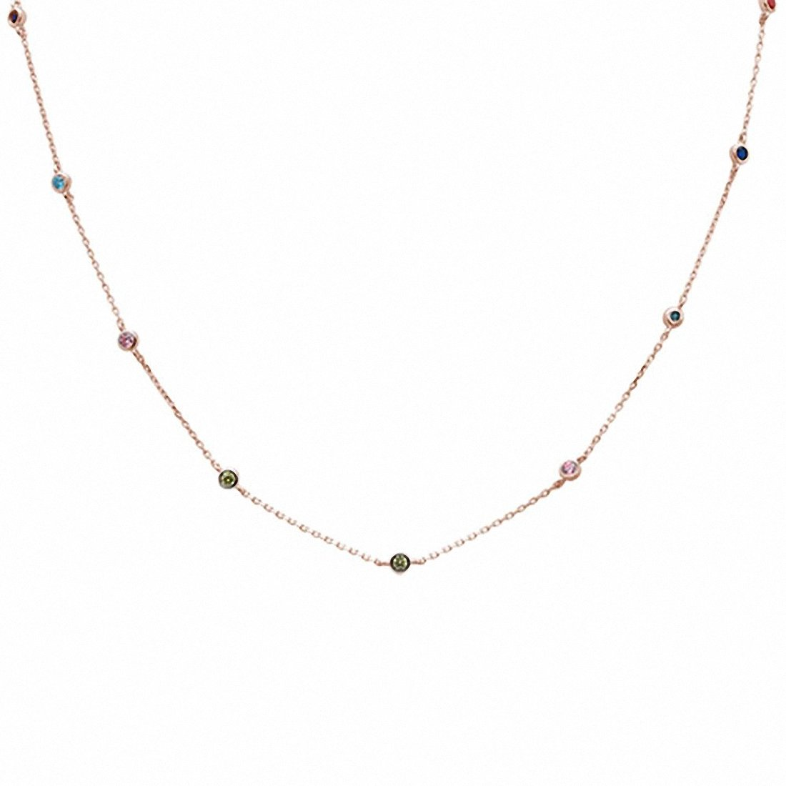 "Muticolored Simulated Stone Cubic Zirconia by the Yard 925 Sterling Silver 18"" Necklace Choose Color"