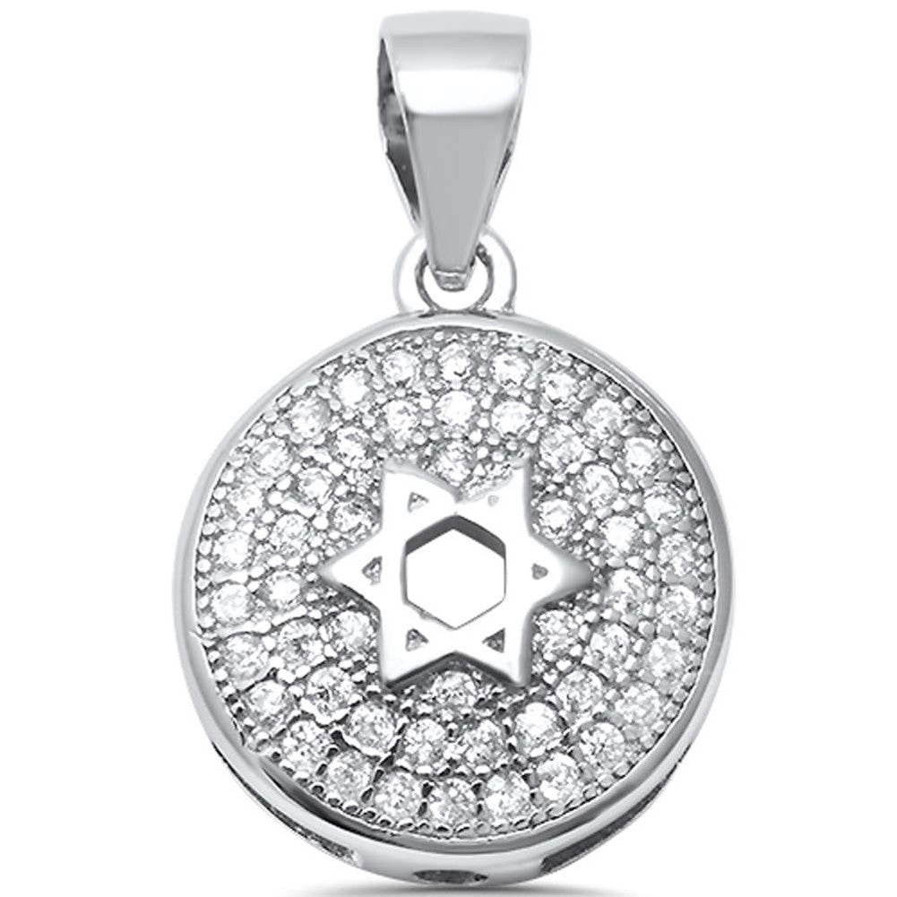 Star of David Pendant Charm Round Pave Cubic Zirconia 925 Sterling Silver Jewish Star Choose Color - Blue Apple Jewelry