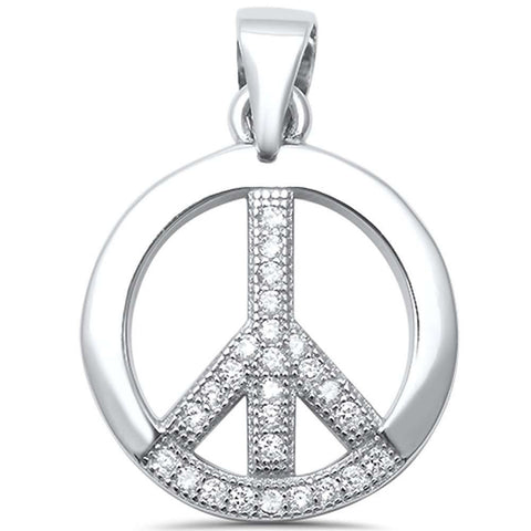 Peace Pendant Charm Round Pave Cubic Zirconia 925 Sterling Silver Choose Color