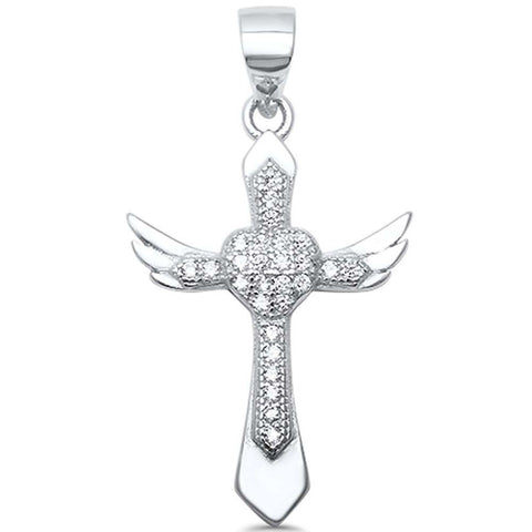 Cross Pendant Heart Angel Wings Charm Round Pave CZ 925 Sterling Silver Choose Color - Blue Apple Jewelry