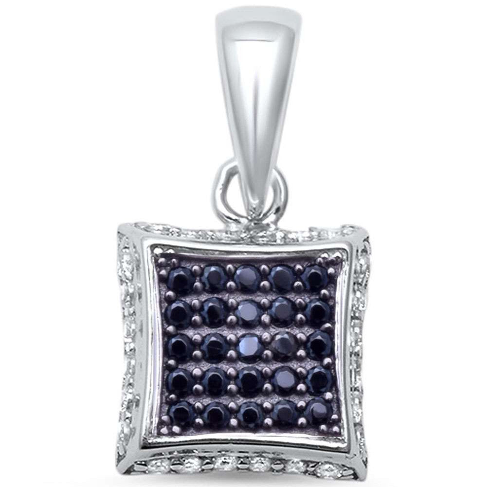 3D Kite Pendant Charm Round Black & White Cubic Zirconia 925 Sterling Silver Choose Color - Blue Apple Jewelry