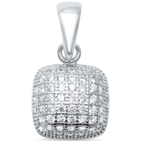 Dome Design Pendant Charm Micro Pave Round Cubic Zirconia 925 Sterling Silver Choose Color - Blue Apple Jewelry