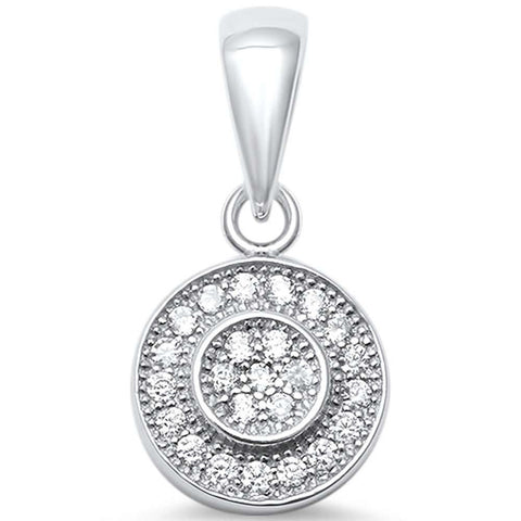 Round Halo Pendant Charm Round White Cubic Zirconia 925 Sterling Silver Hip Hop Choose Color - Blue Apple Jewelry