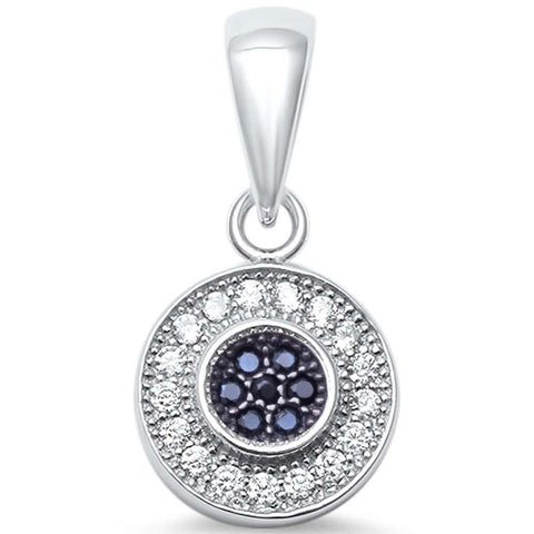 Round Halo Pendant Charm Round Black & White Cubic Zirconia 925 Sterling Silver Hip Hop Choose Color - Blue Apple Jewelry