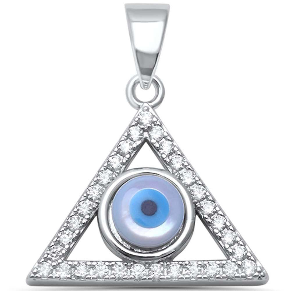 Evil Eye Pendant Charm Triangle Round Cubic Zirconia 925 Sterling Silver Choose Color - Blue Apple Jewelry