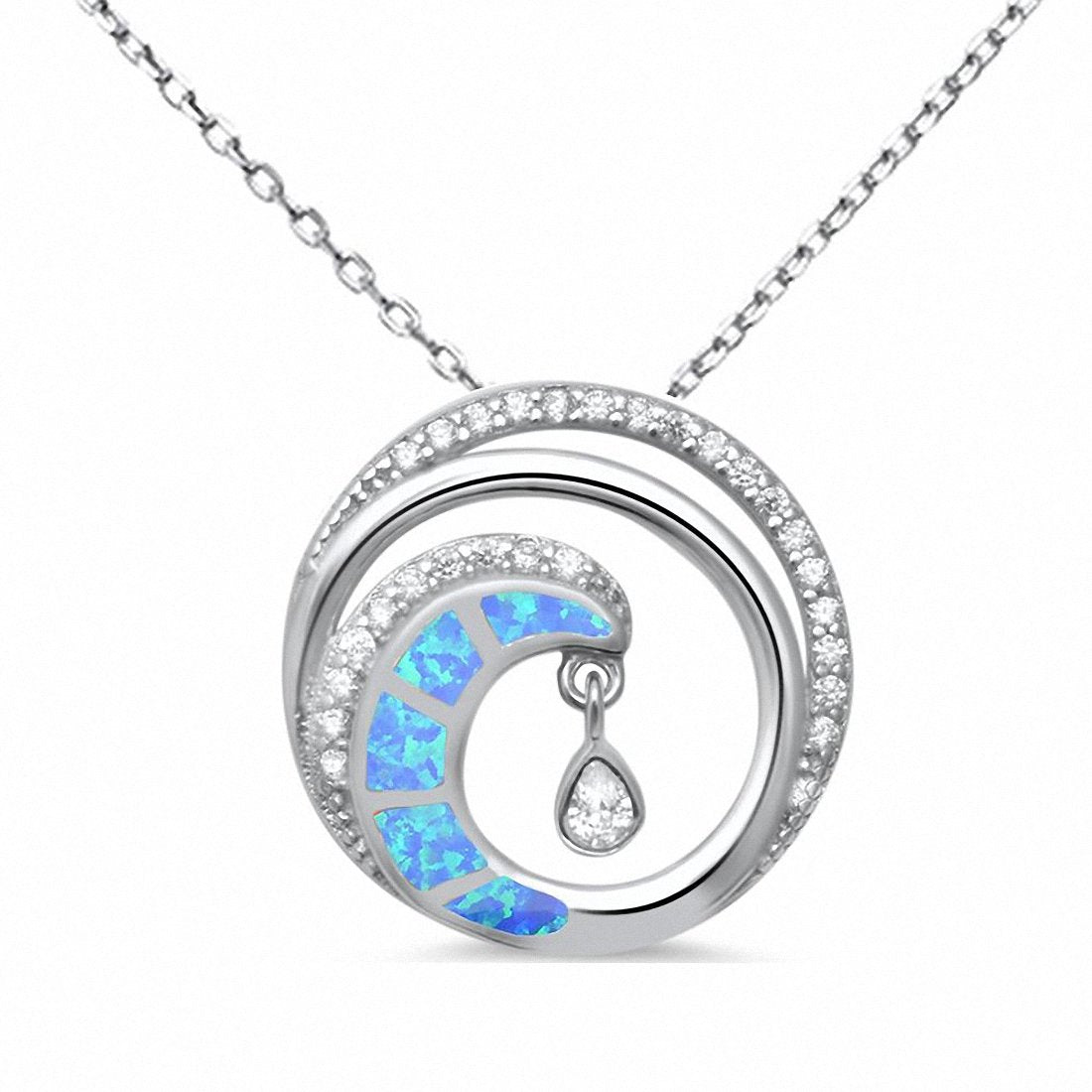 "Wave Pendant Necklace 18"" Simulated Cubic Zirconia 925 Sterling Silver"