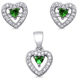 Halo Heart Jewelry Set Simulated Stone 925 Sterling Silver Pendant Earring Choose Color