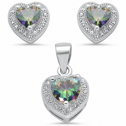 Jewelry Set Pendant Earring Halo Heart Simulated Blue Tanzanite Round CZ 925 Sterling Silver Choose Color