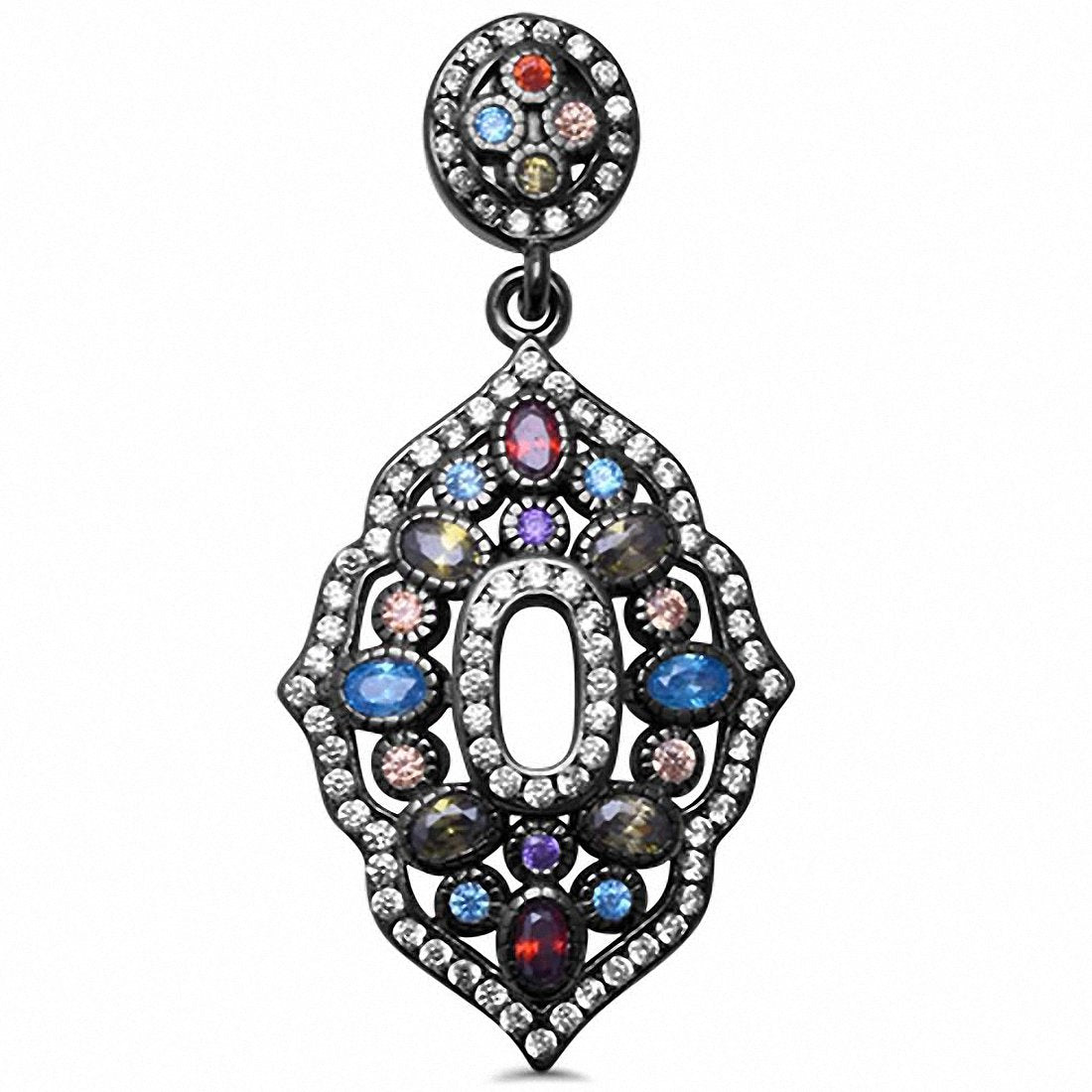 Black Tone Multicolored & CZ Pendant 925 Sterling Silver Choose Color