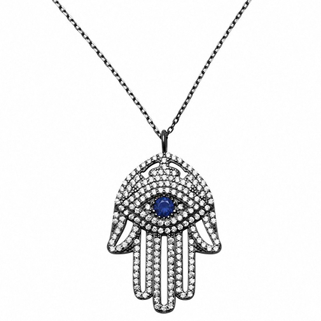 "Hamsa Hand of God Evil Eye 18"" Necklace Pendant Round Simulated Blue CZ Black Tone 925 Sterling Silver"