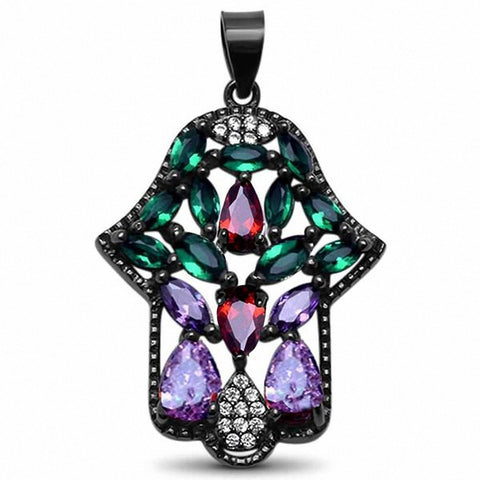 Hamesh Hand Of God Pendant Simulated Multicolored & Round CZ Black Tone 925 Sterling Silver Choose Color