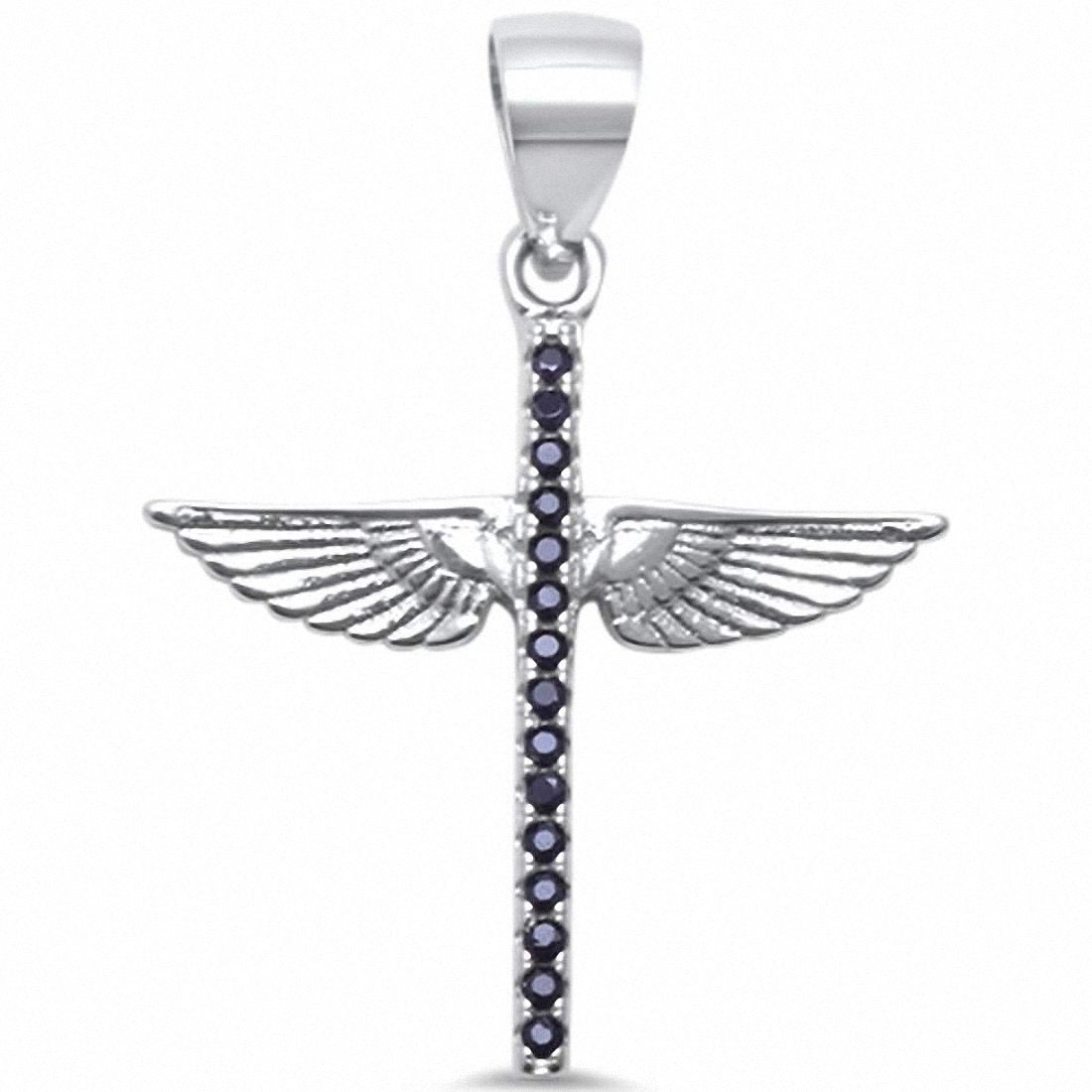 Cross Angel Wing Pendant Round Cubic Zirconira 925 Sterling Silver Choose Color