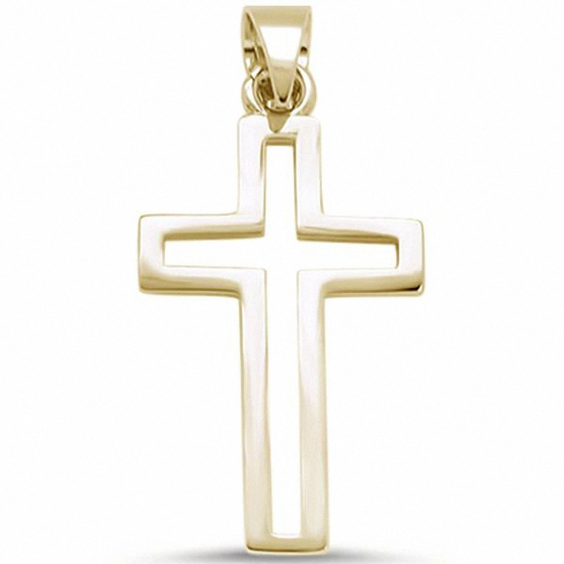 Open Cut Plain Cross Pendant 925 Sterling Silver choose Color