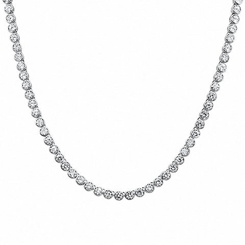 "Bezel Tennis Necklace Round Cubic Zirconia 925 Sterling Silver 20"" Choose Color"